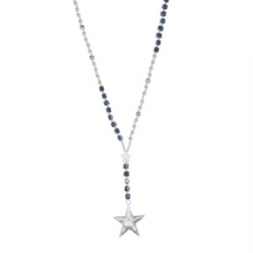 Star with Black Bead Long Necklace